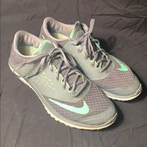 grey and teal nike's